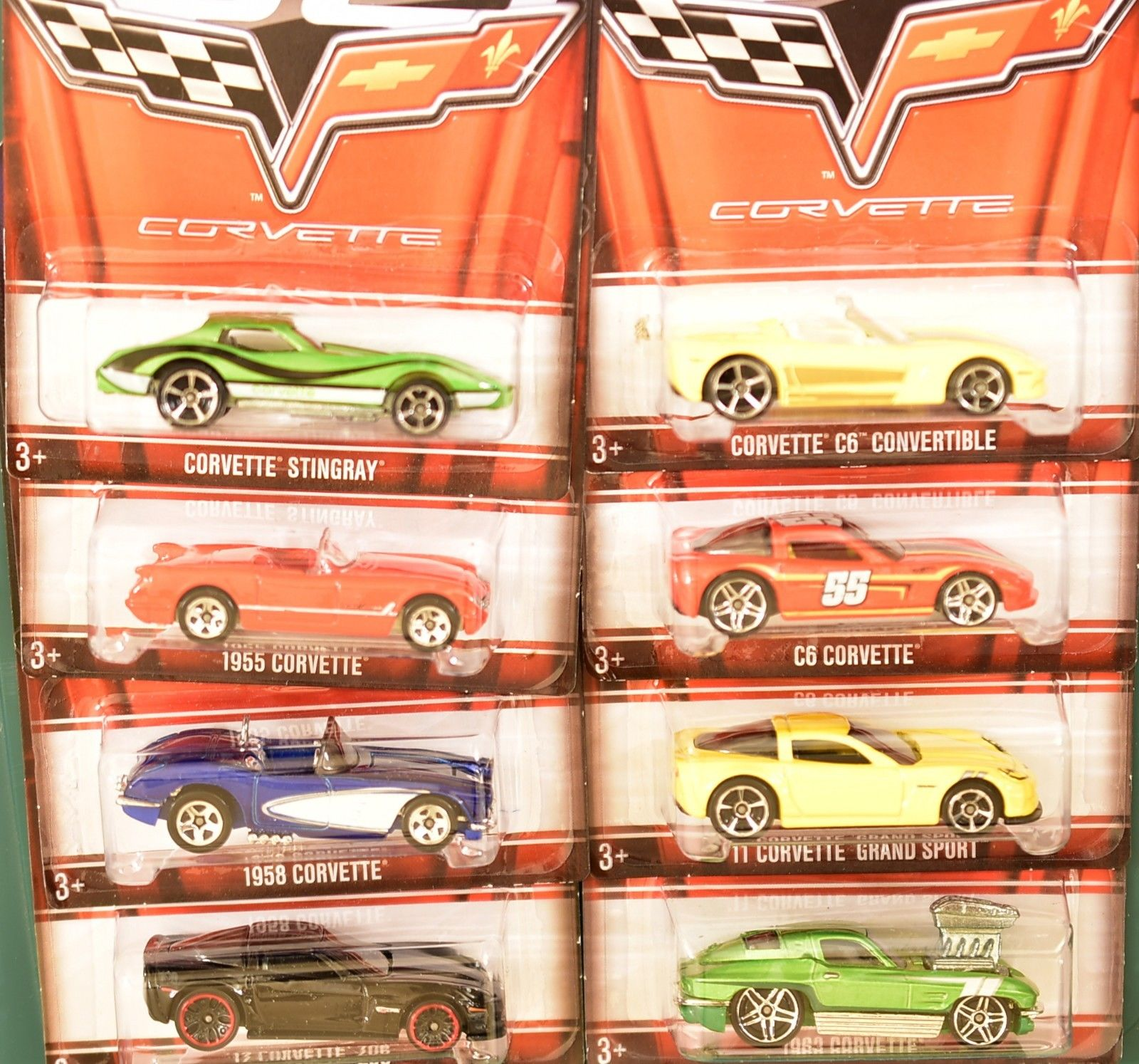 HOT WHEELS 60 YEAR WALMART EXCLUSIVE CORVETTE COMPLETE SET OF 8 E+