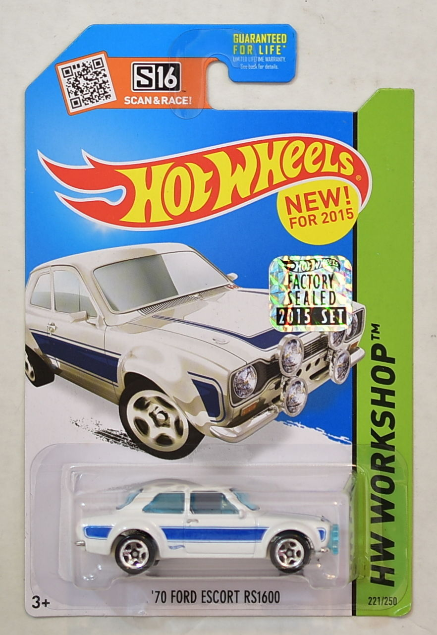 HOT WHEELS 2015 HW WORKSHOP '70 FORD ESCORT RS1600 WHITE FACTORY SEALED