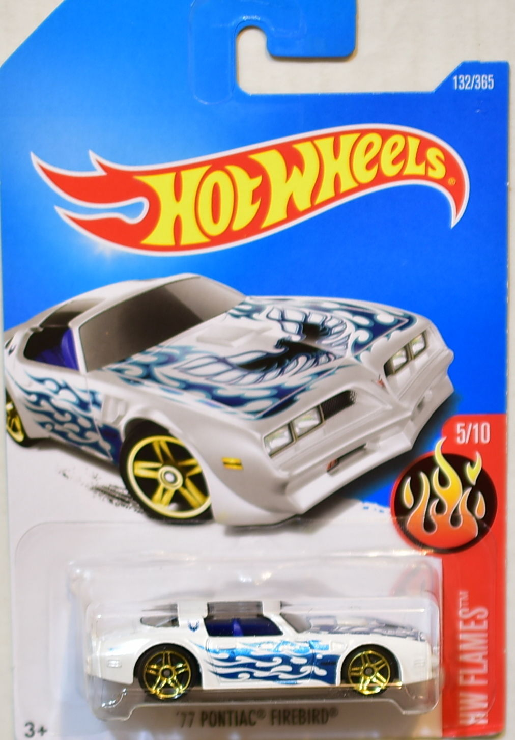 HOT WHEELS 2017 HW FLAMES '77 PONTIAC FIREBIRD #5/10 WHITE