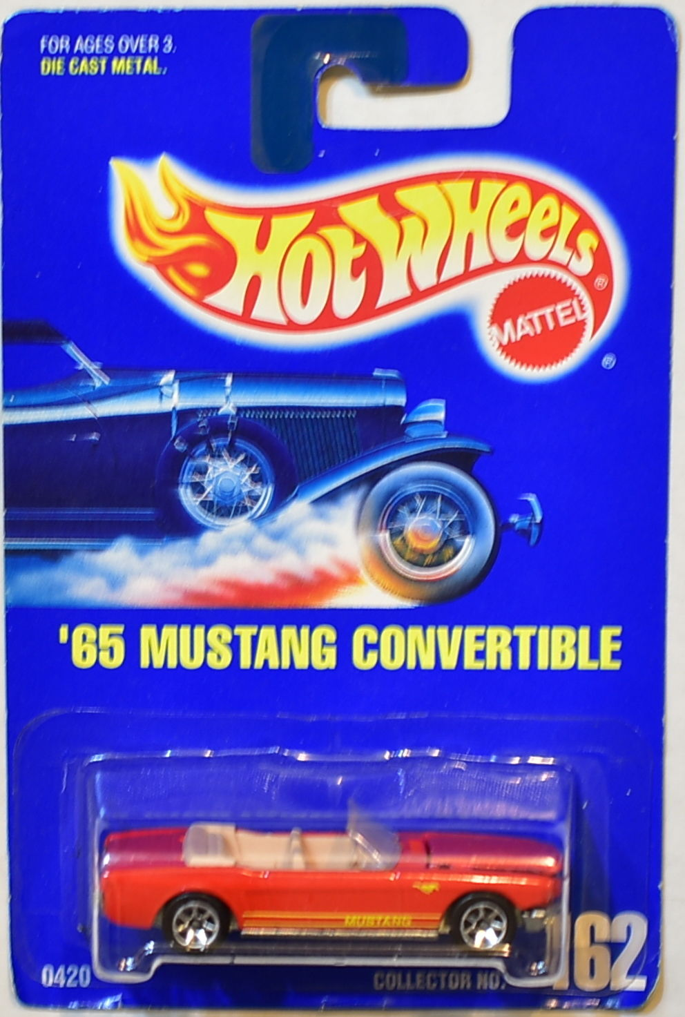 HOT WHEELS 1991 '65 MUSTANG CONVERTIBLE #162 W/ 7 SP WHEELS