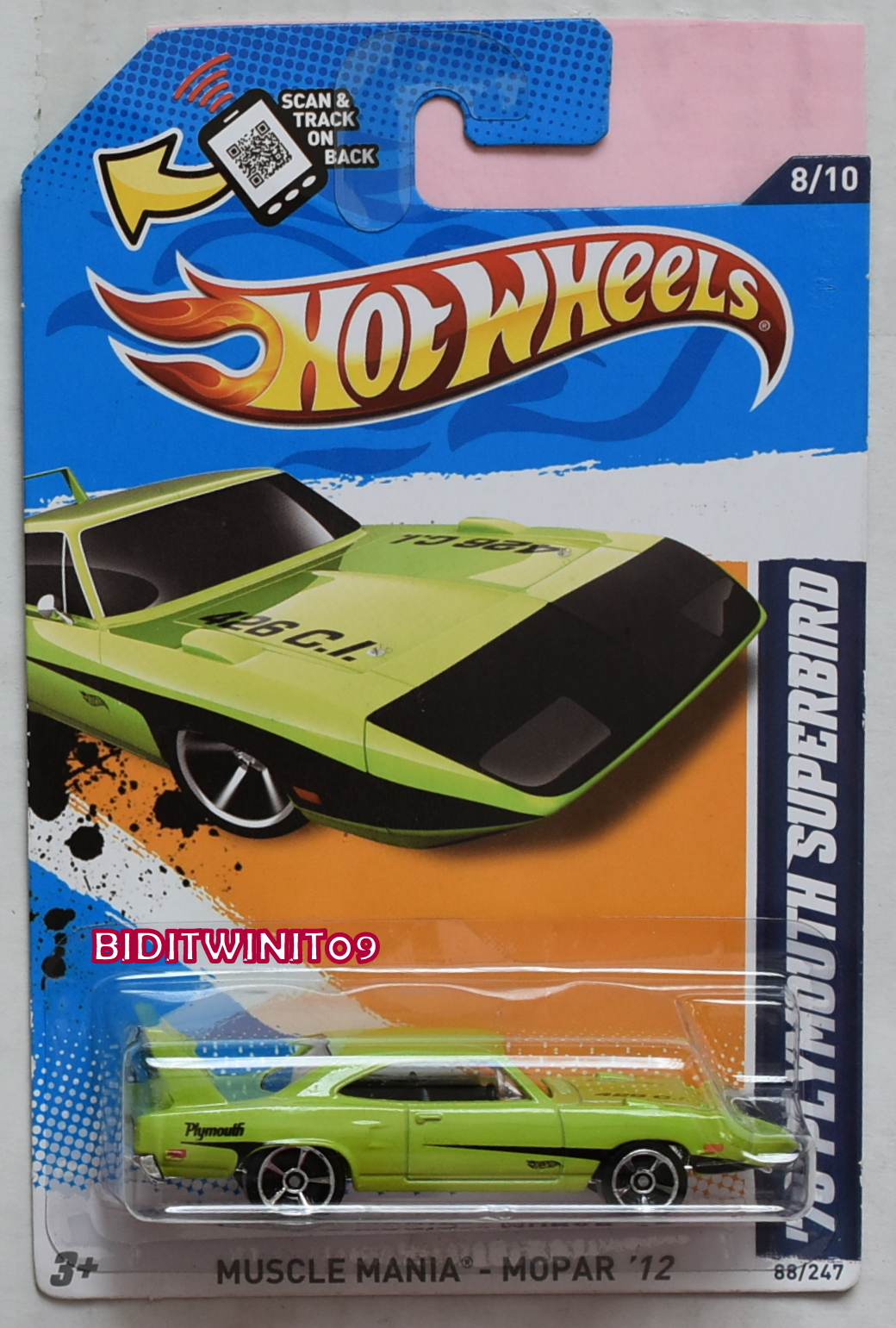 HOT WHEELS 2012 MUSCLE MANIA '70 PLYMOUTH SUPERBIRD VARIATION E+