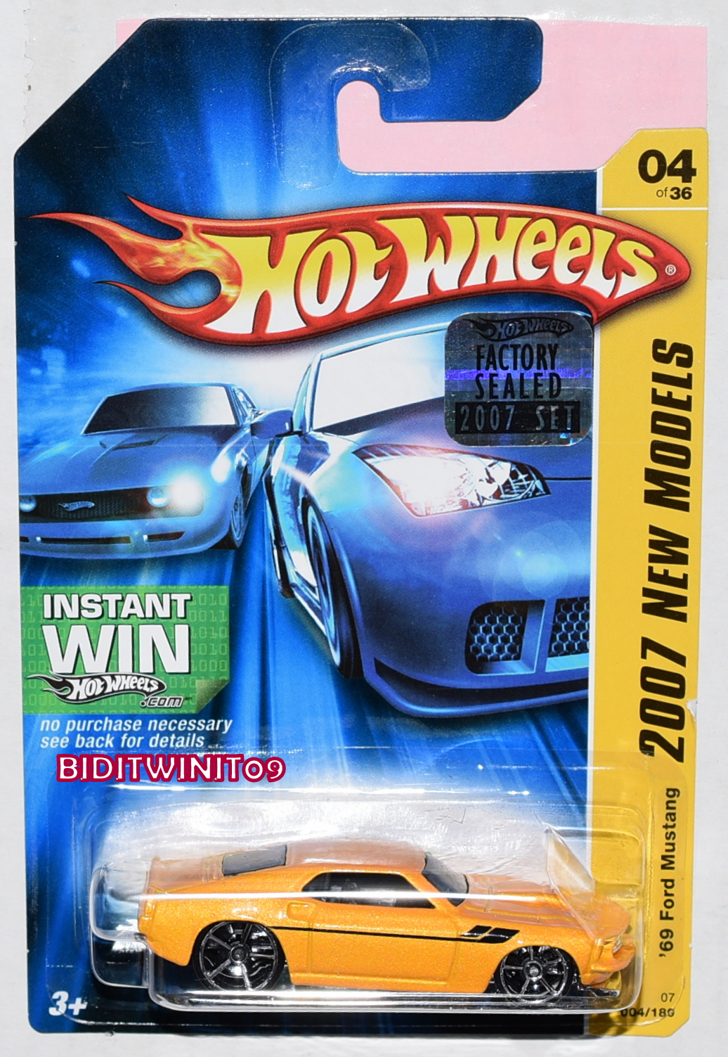 HOT WHEELS 2007 NEW MODELS '69 FORD MUSTANG #04/26 YELLOW FACTORY SEALED