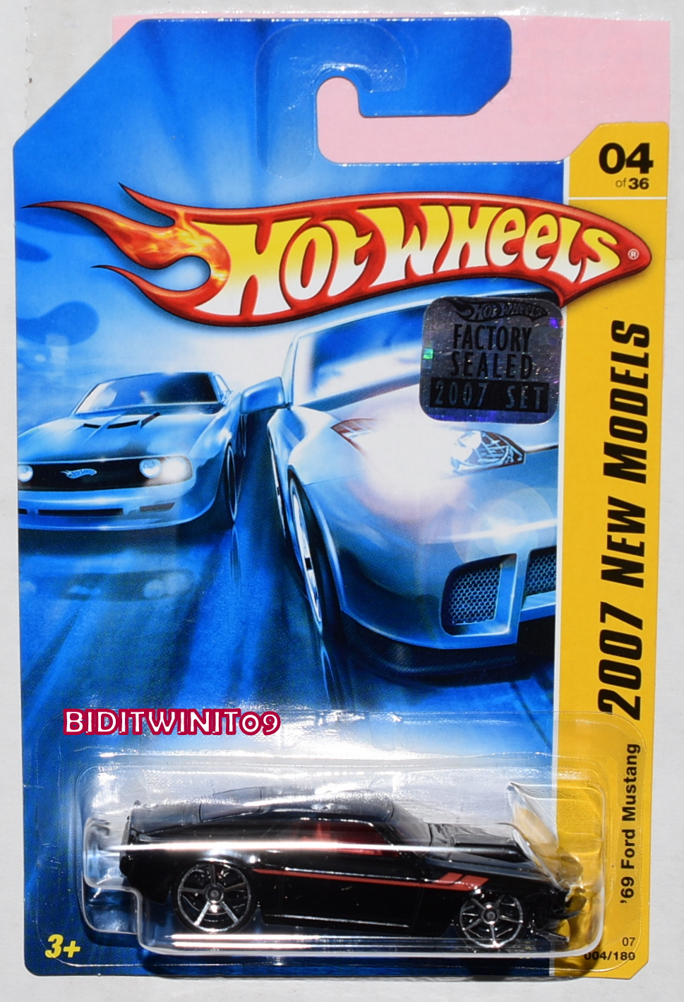 HOT WHEELS 2007 NEW MODELS '69 FORD MUSTANG #04/26 BLACK FACTORY SEALED