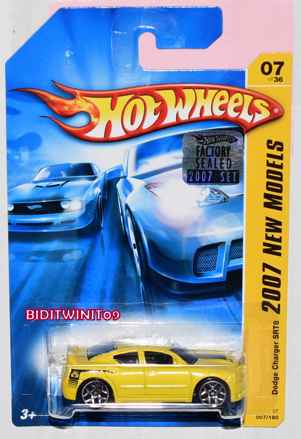 HOT WHEELS 2007 NEW MODELS DODGE CHARGER SRT8 #07/36 YELLOW FACTORY SEALED