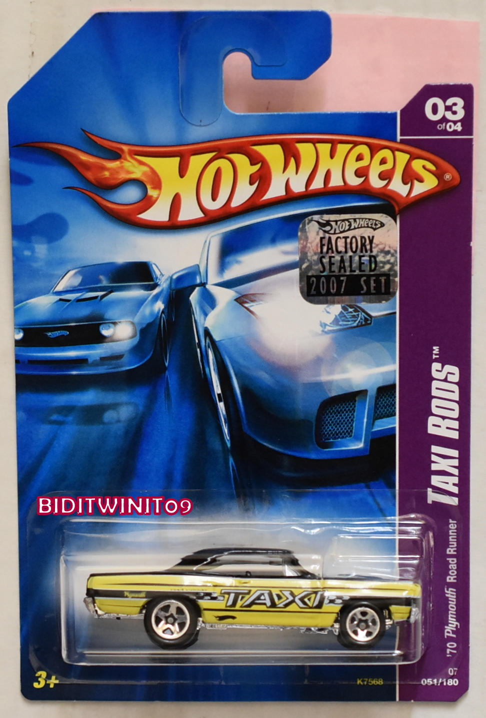 HOT WHEELS 2007 TAXI RODS '70 PLYMOUTH ROAD RUNNER #03/04 YELLOW FACTORY SEALED