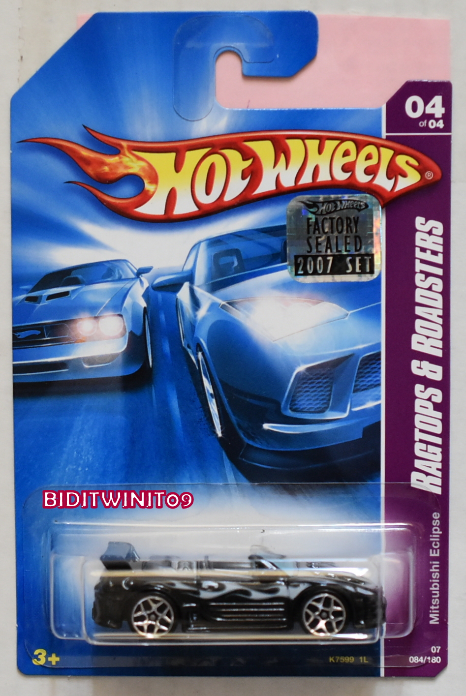 HOT WHEELS 2007 RAGTOPS & ROADSTERS MITSUBIDHI ECLIPSE BLACK FACTORY SEALED