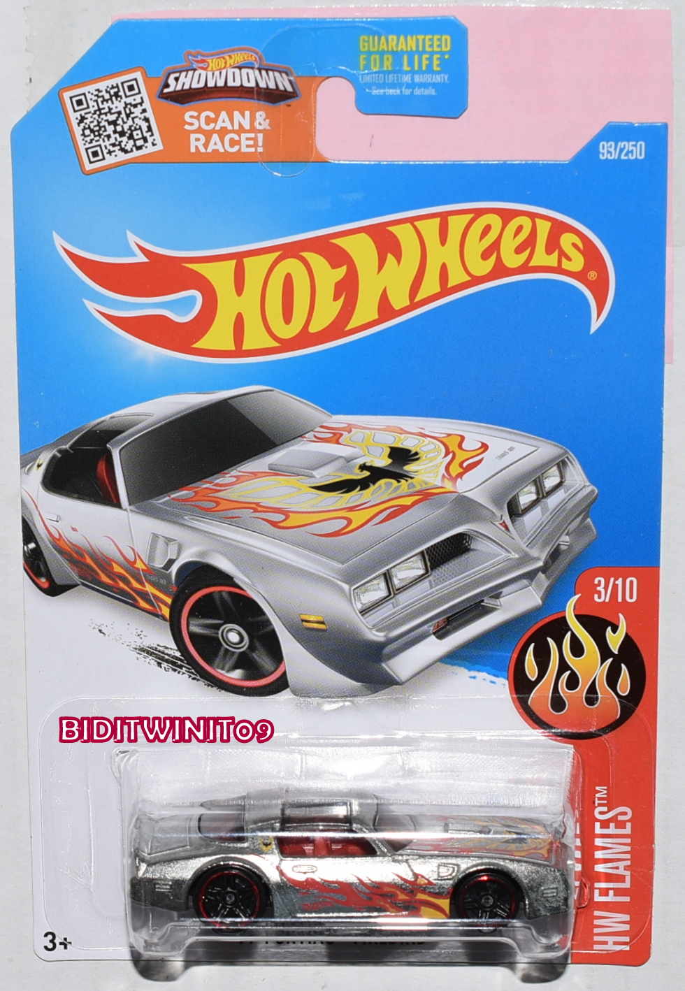 HOT WHEELS 2016 HW FLAMES '77 PONTIAC FIREBIRD ZAMAC
