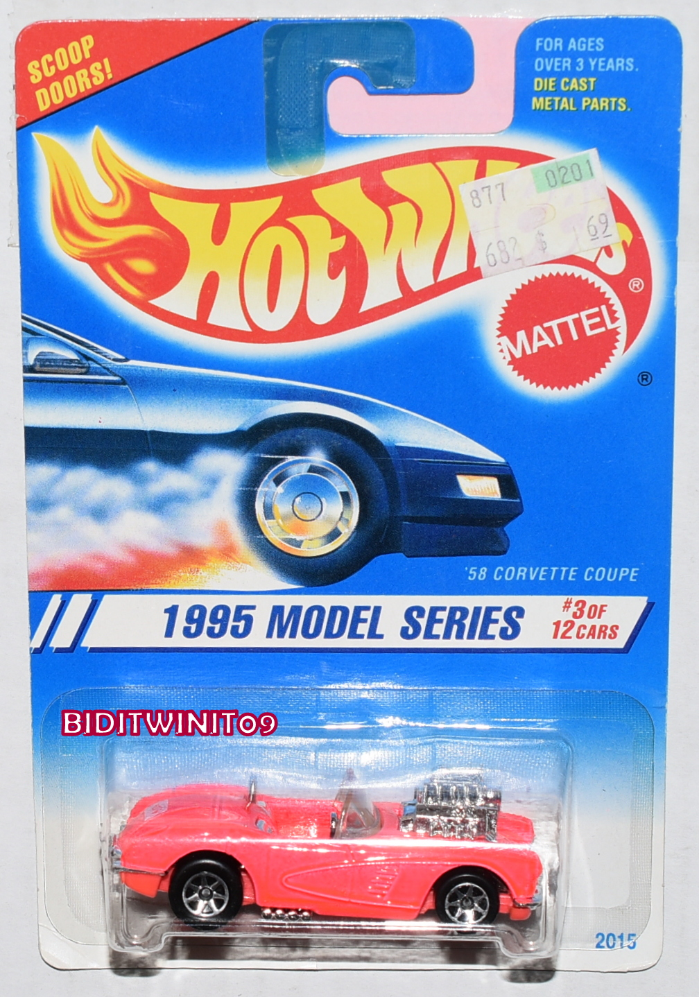 HOT WHEELS 1995 MODEL SERIES '58 CORVETTE COUPE #3/12 W/ 7 SP WHEELS E+