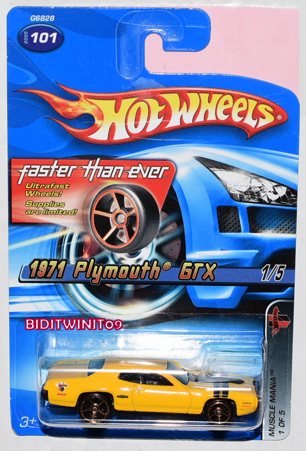 HOT WHEELS 2005 MUSCLE MANIA FTE 1971 PLYMOUTH GTX #101 YELLOW