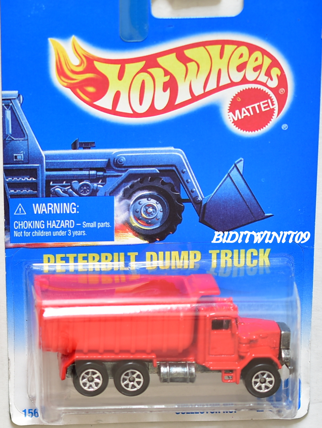 HOT WHEELS 1991 BLUE CARD PETERBILT DUMP TRUCK W/ 7 SP WHEELS