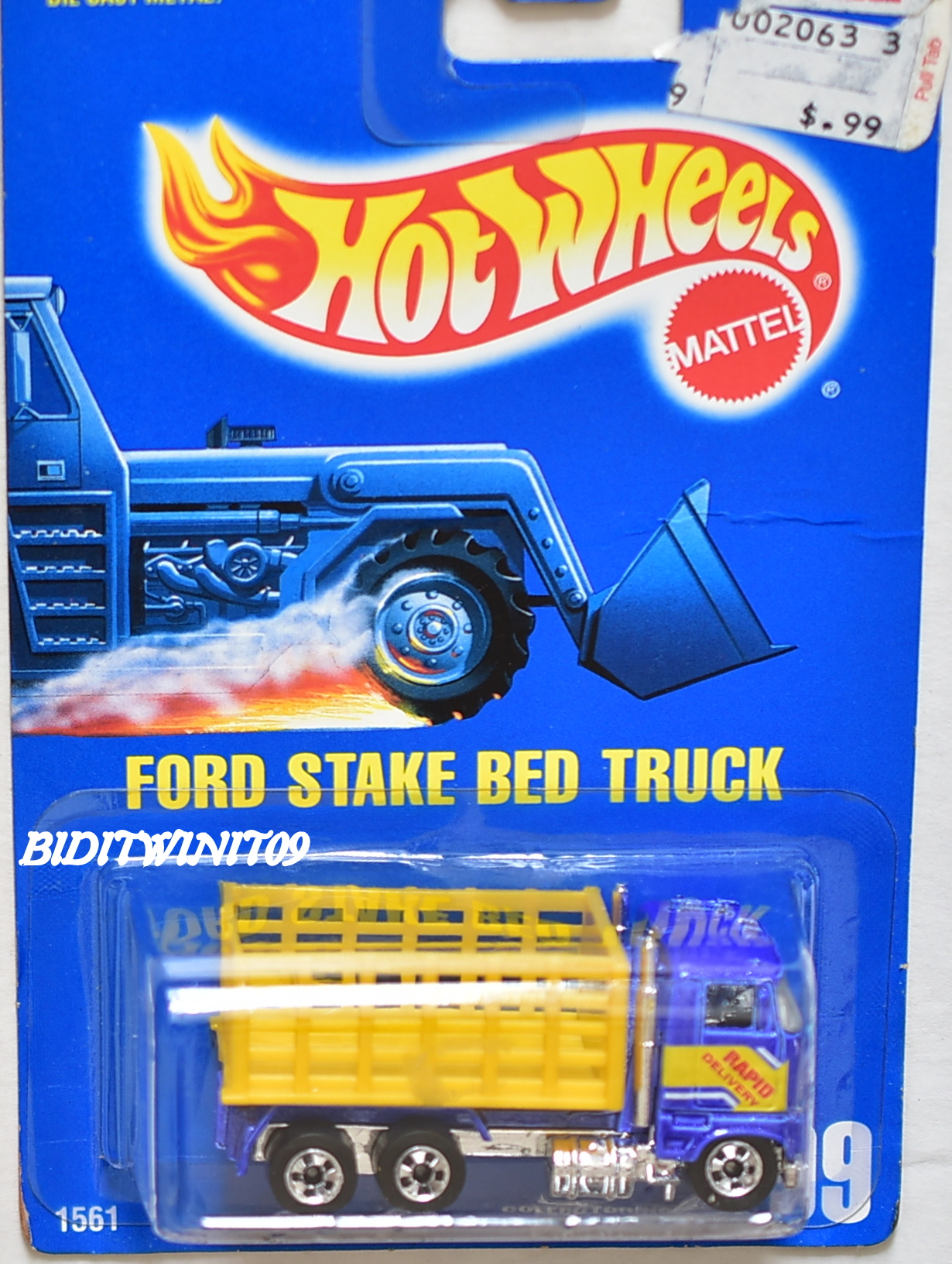 HOT WHEELS 1990 - 1991 BLUE CARD FORD STAKE BED TRUCK #99 BLUE