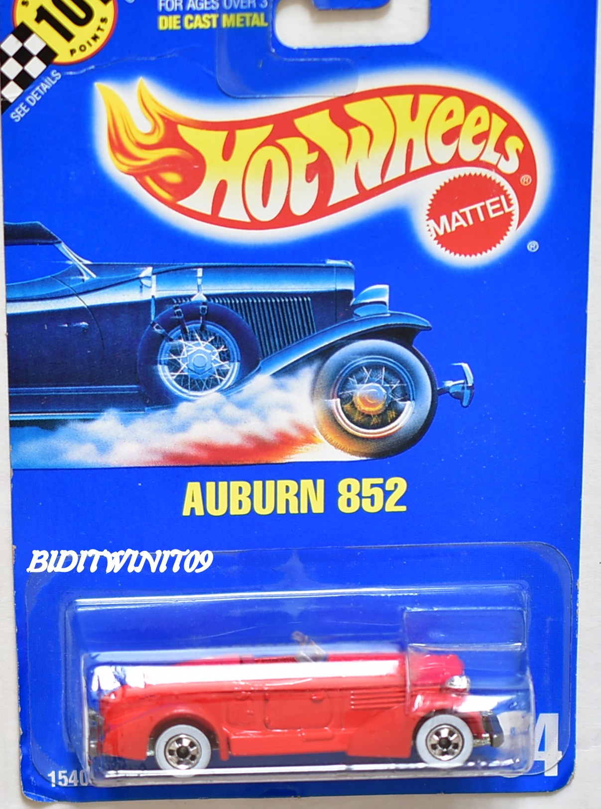 HOT WHEELS 1990 BLUE CARD AUBURN 852 #94 RED