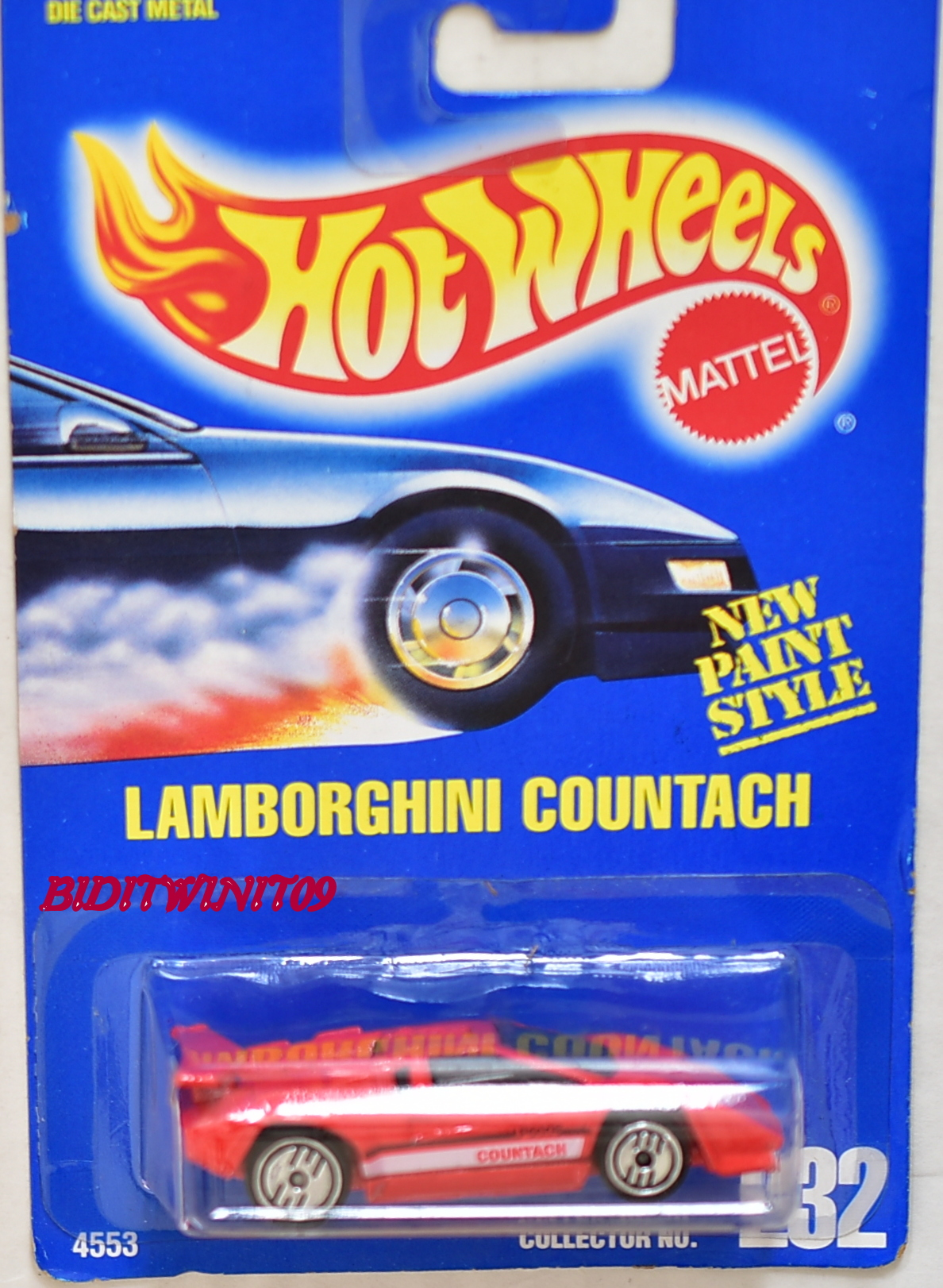 hot wheels 1990 blue card lamborghini countach 232 red 0002308. Black Bedroom Furniture Sets. Home Design Ideas
