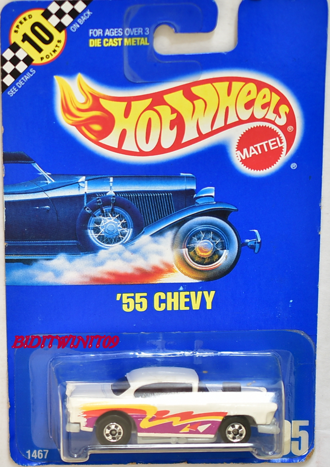 HOT WHEELS 1990 BLUE CARD '55 CHEVY #95 WHITE