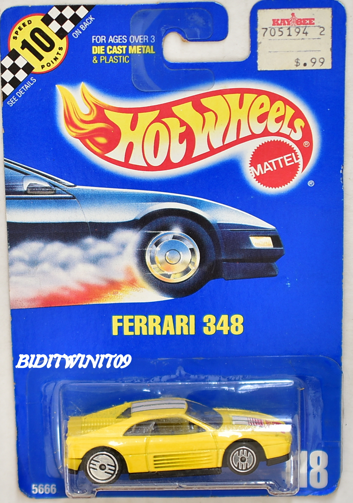 HOT WHEELS 1990 BLUE CARD FERRARI 348 #118 YELLOW