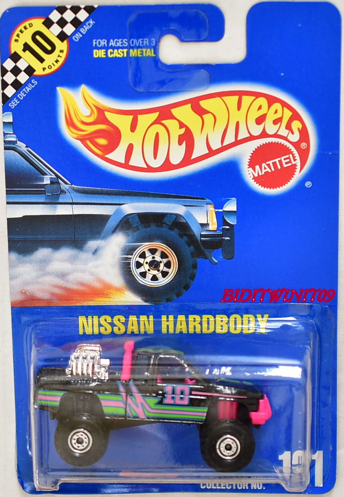 HOT WHEELS 1990 BLUE CARD NISSAN HARDBODY W/ PLASTIC BASE