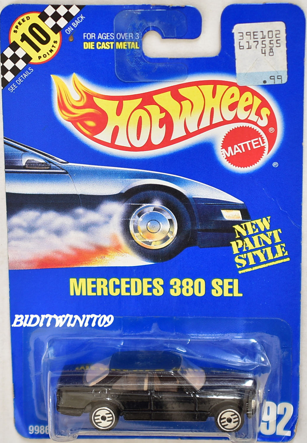HOT WHEELS 1990 BLUE CARD MERCEDES 380 SEL #92 OPEN STEERING WHEELS E+
