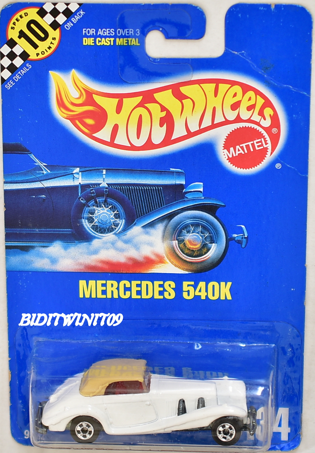 HOT WHEELS 1990 BLUE CARD MERCEDES 540K #134 WHITE NO GRILL - ERROR E+