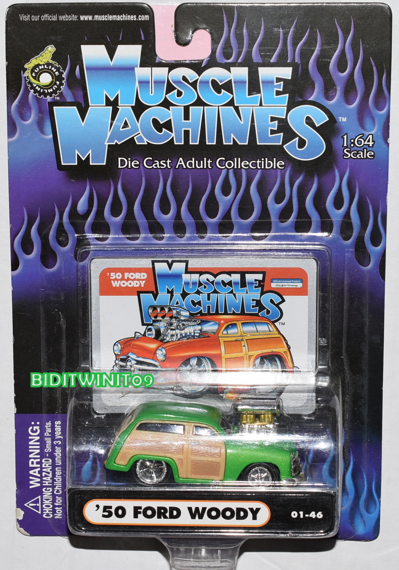 MUSCLE MACHINES 01-46 '50 FORD WOODY GREEN SCALE 1:64 E+