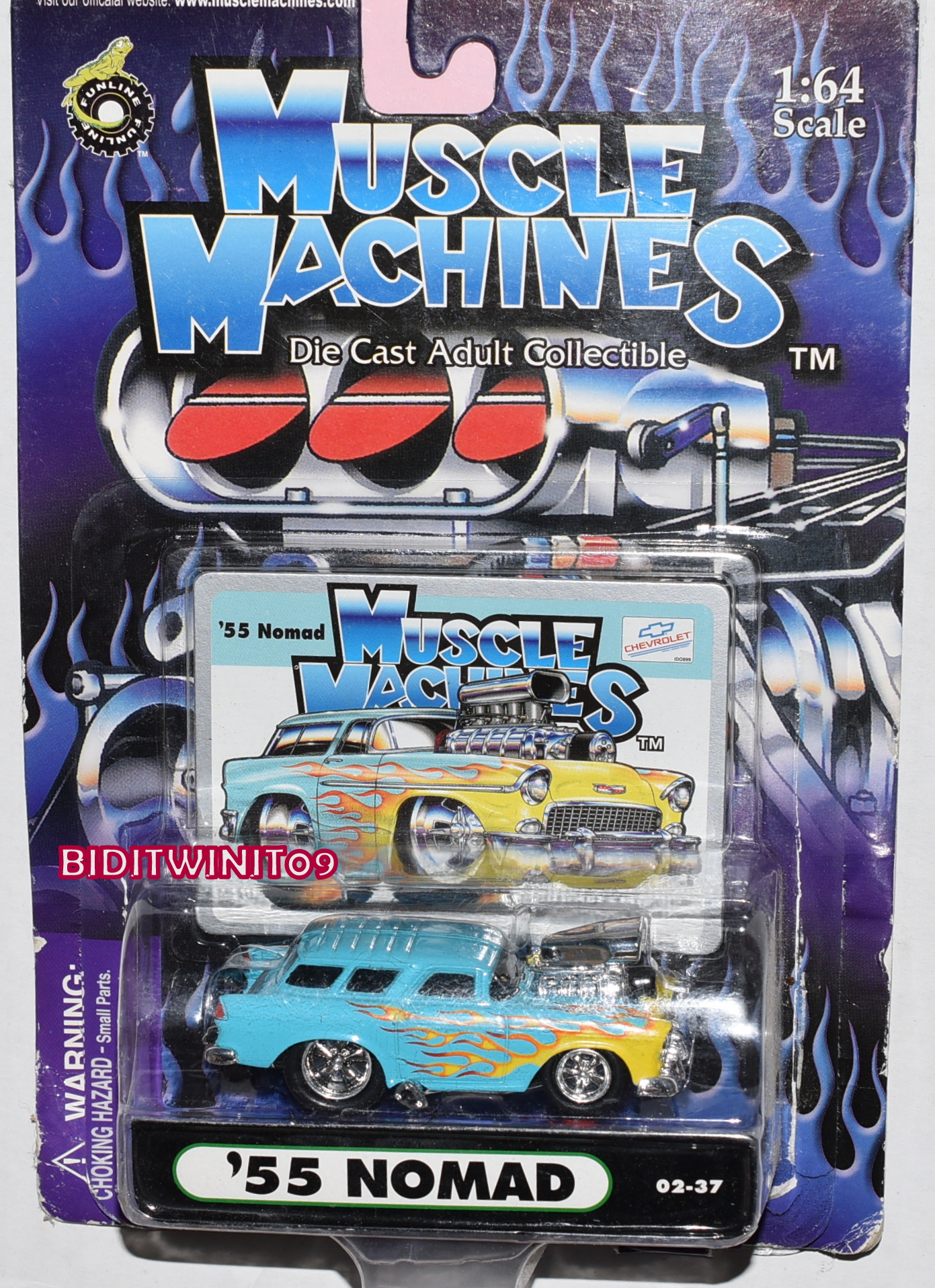 FUNLINE MUSCLE MACHINES 2000 '55 NOMAD 02-37 LIGHT BLUE BAD CARD E+