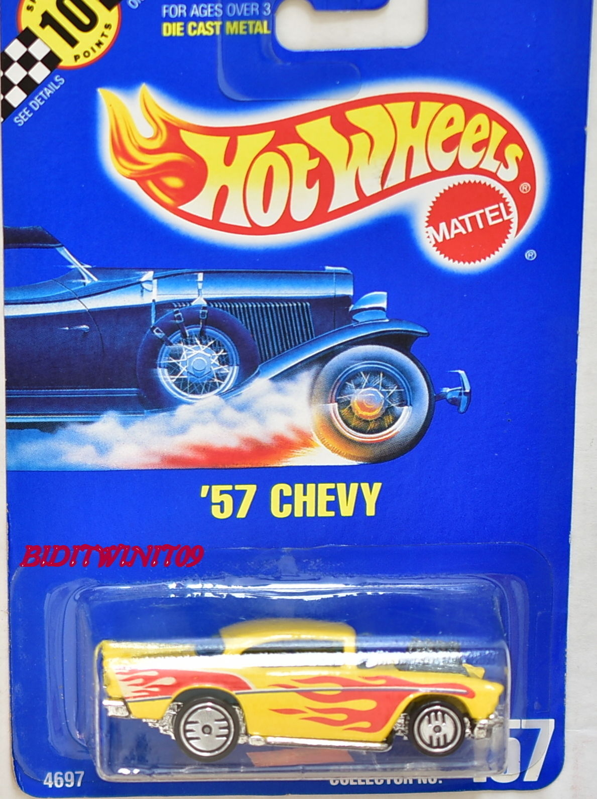 HOT WHEELS 1990 BLUE CARD '57 CHEVY WITH 157 ON BASE