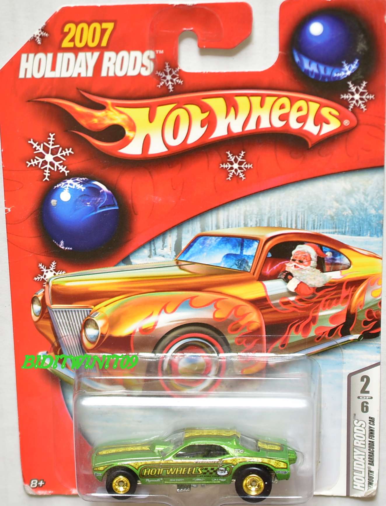 HOT WHEELS 2007 HOLIDAY RODS PLYMOUTH BARRACUDA FUNNY CAR #2/6
