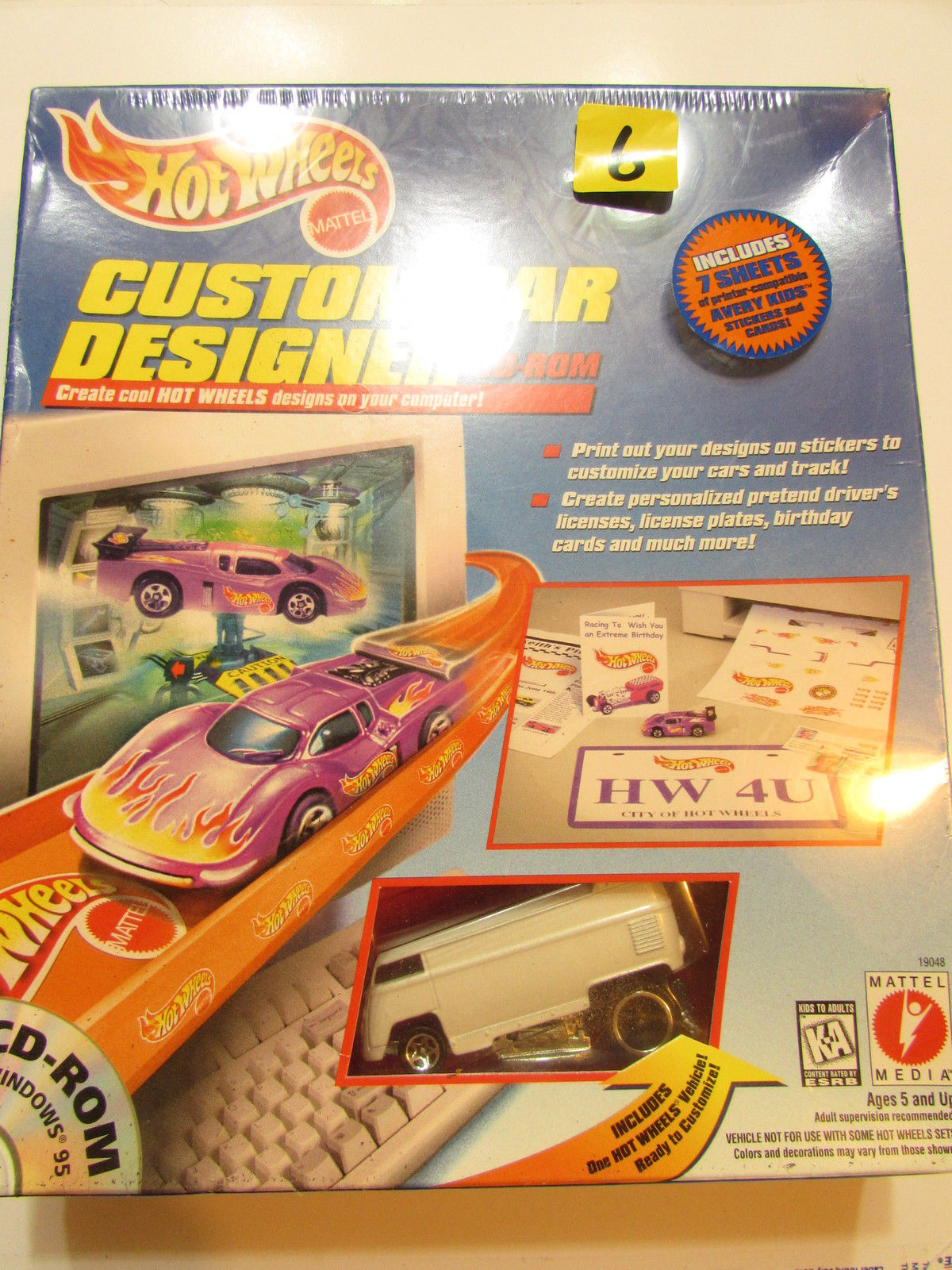 HOT WHEELS 1997 CUSTOM CAR DESIGNER CD - ROM VW DRAG BUS WHITE