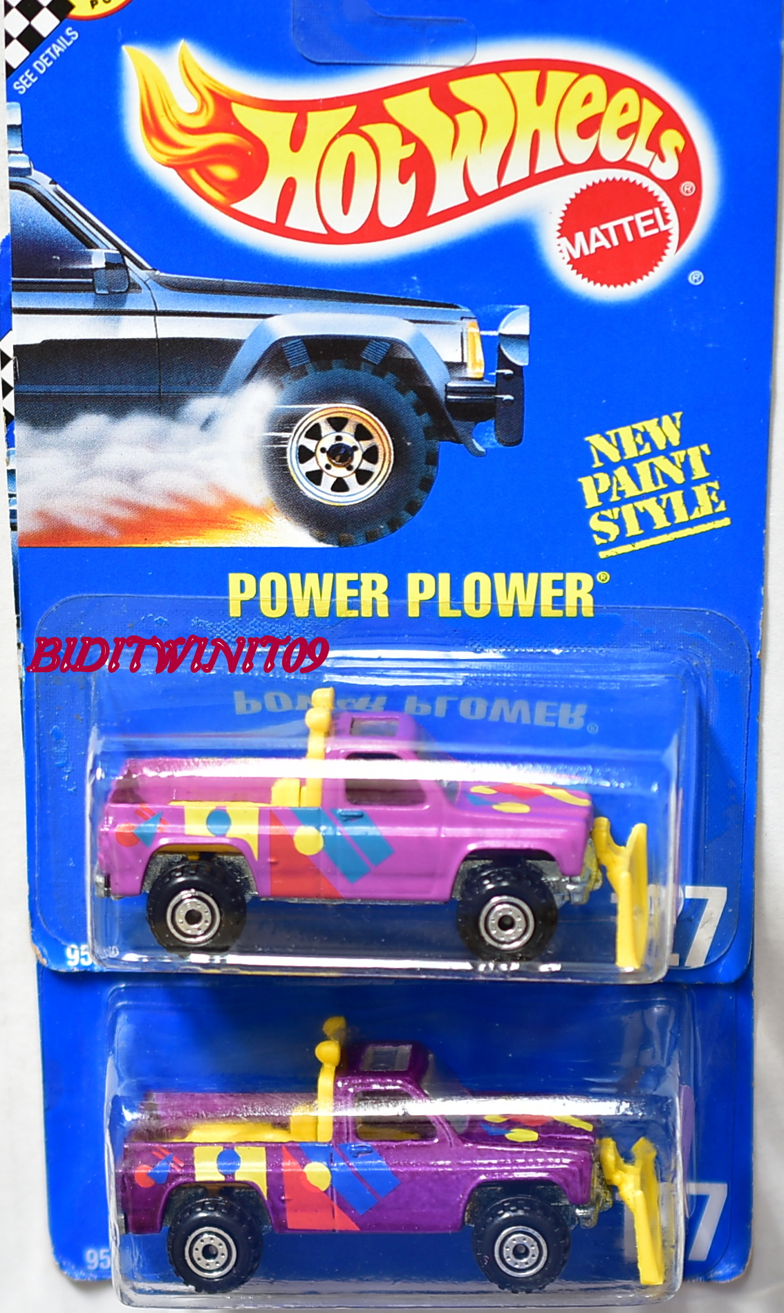 HOT WHEELS 1990 BLUECARD POWER PLOWER #127 COLOR VARIATION E+