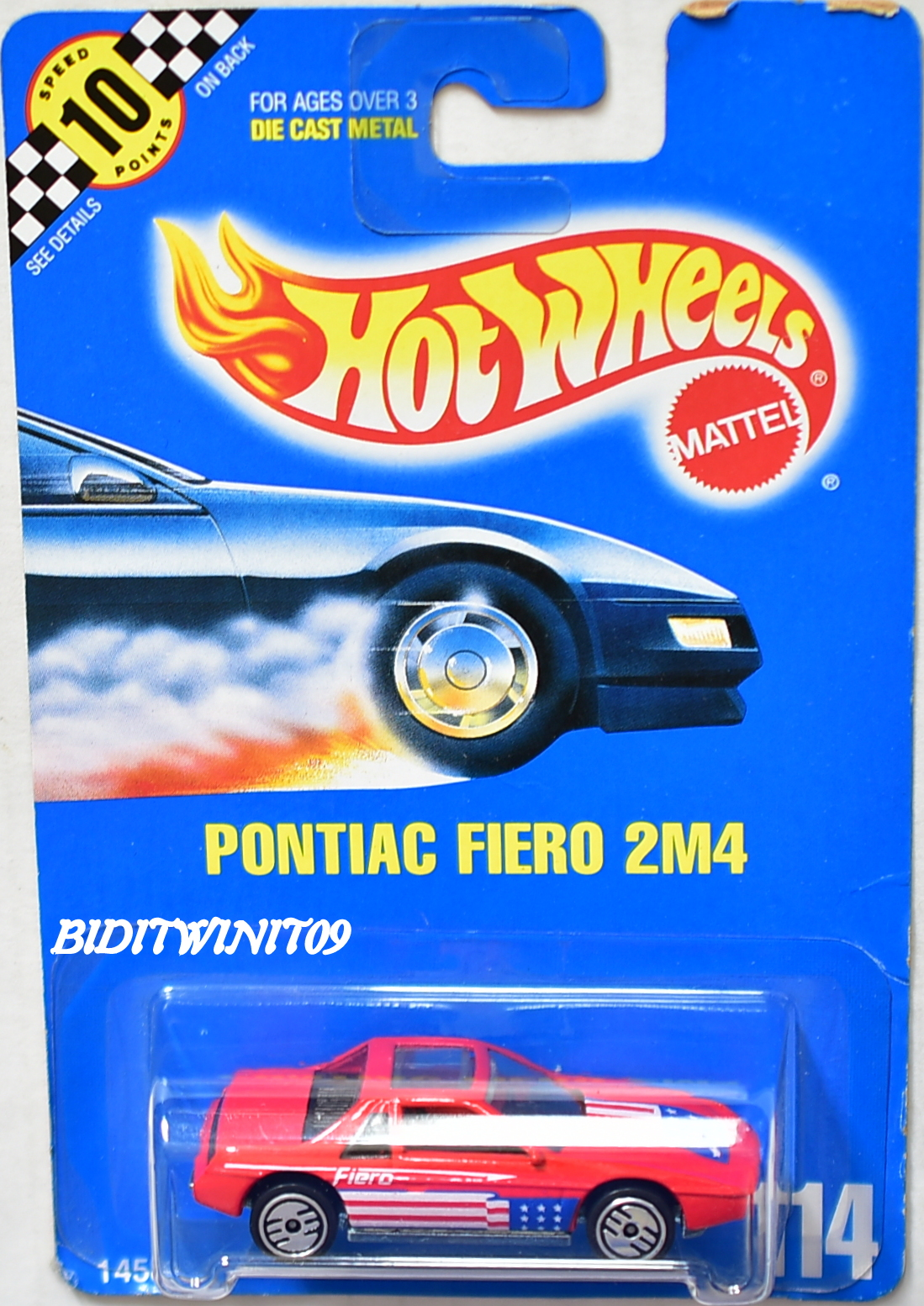 HOT WHEELS 1990 BLUE CARD PONTIAC FIERO 2M4 #114 RED