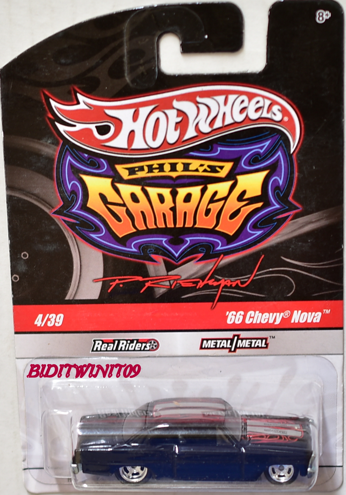 HOT WHEELS PHIL'S GARAGE '66 CHEVY NOVA #4/39 BLACK