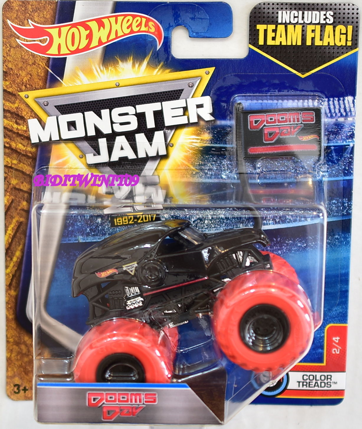 HOT WHEELS 2017 MONSTER JAM INCLUDES TEAM FLAG DOOMS DAY COLOR TREADS #2/4