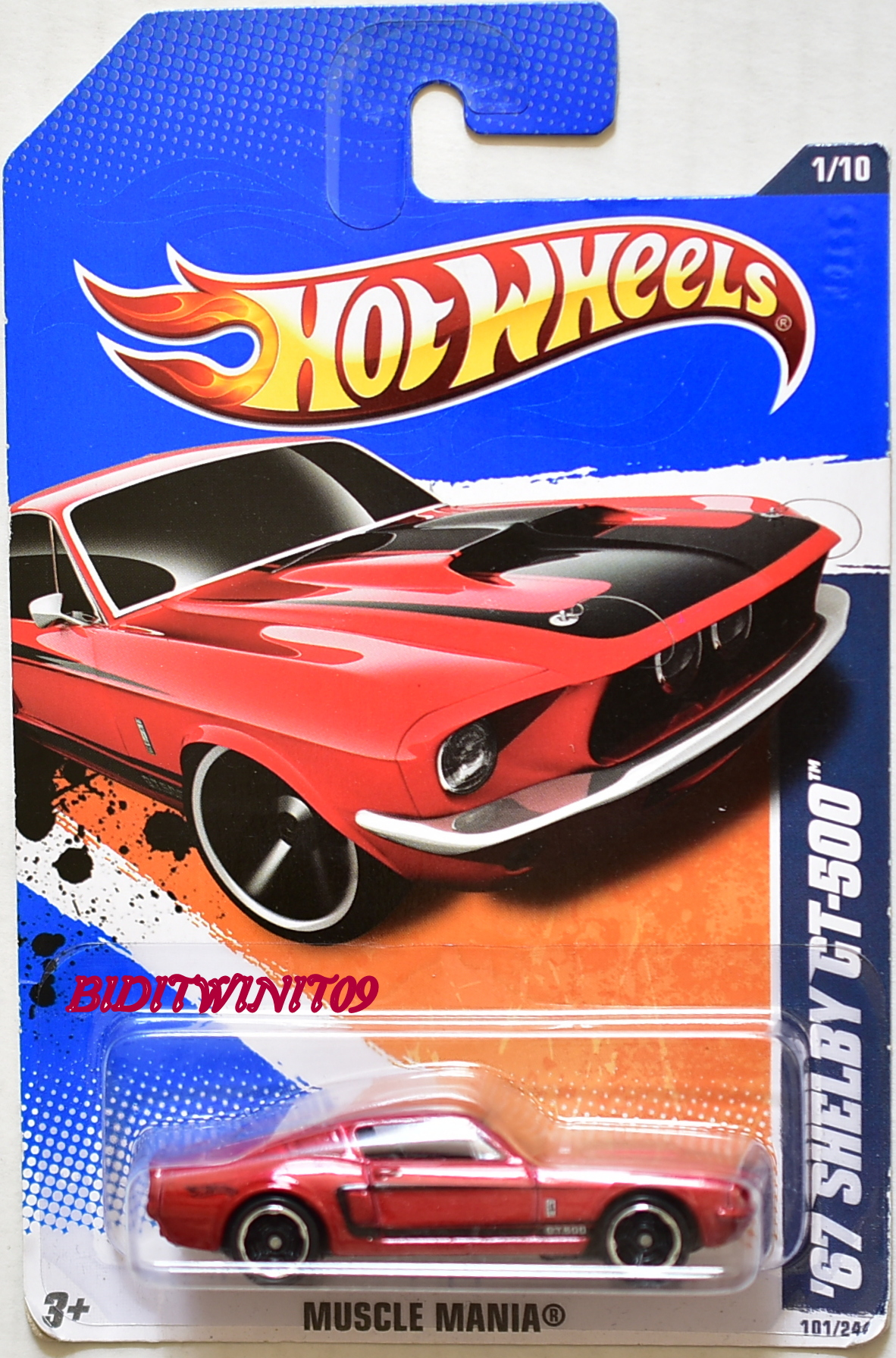 HOT WHEELS 2011 #01/10 '67 SHELBY GT-500 MUSCLE MANIA