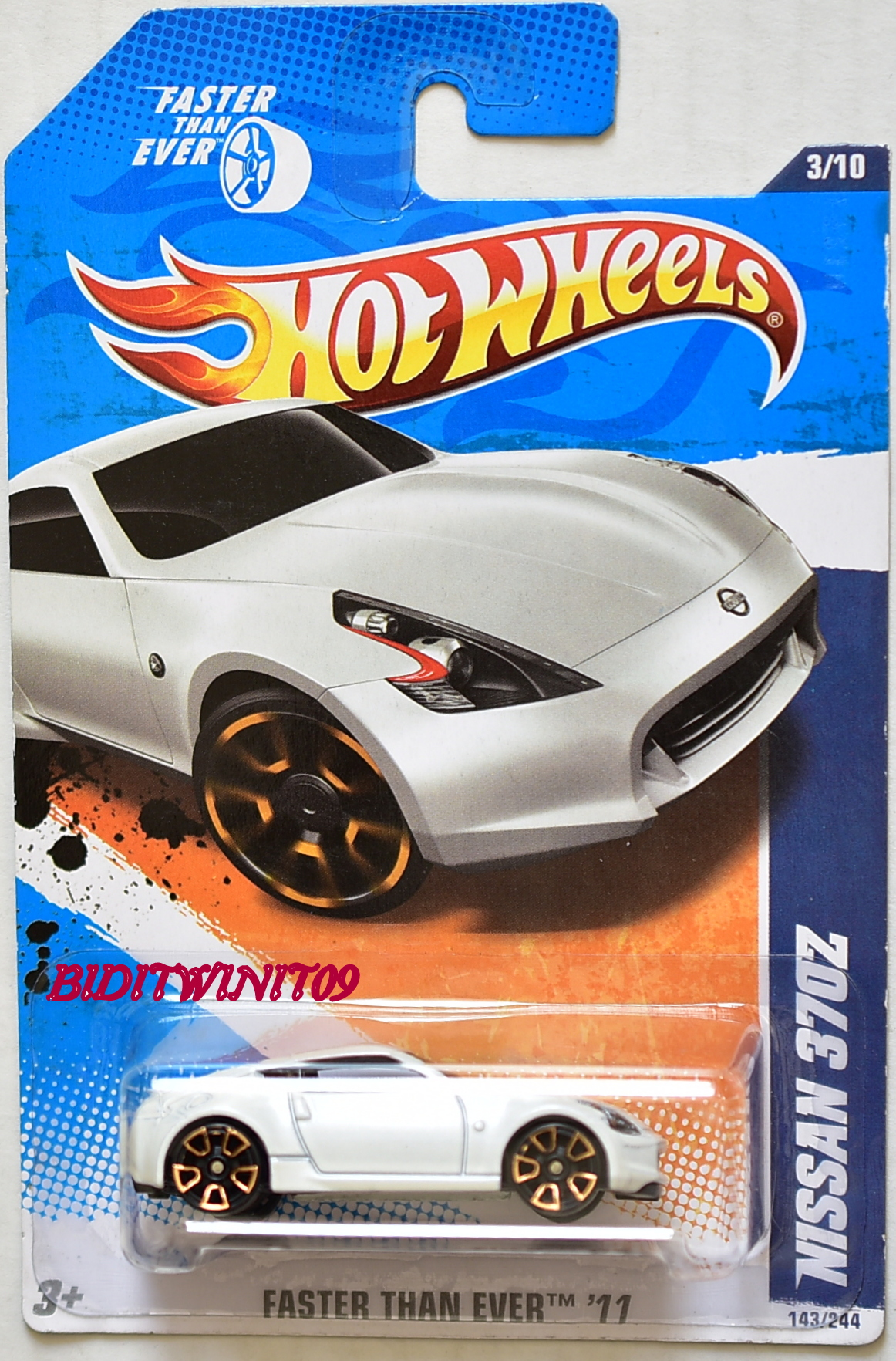 HOT WHEELS 2011 FASTER THAN EVER NISSAN 370Z #3/10 WHITE E+