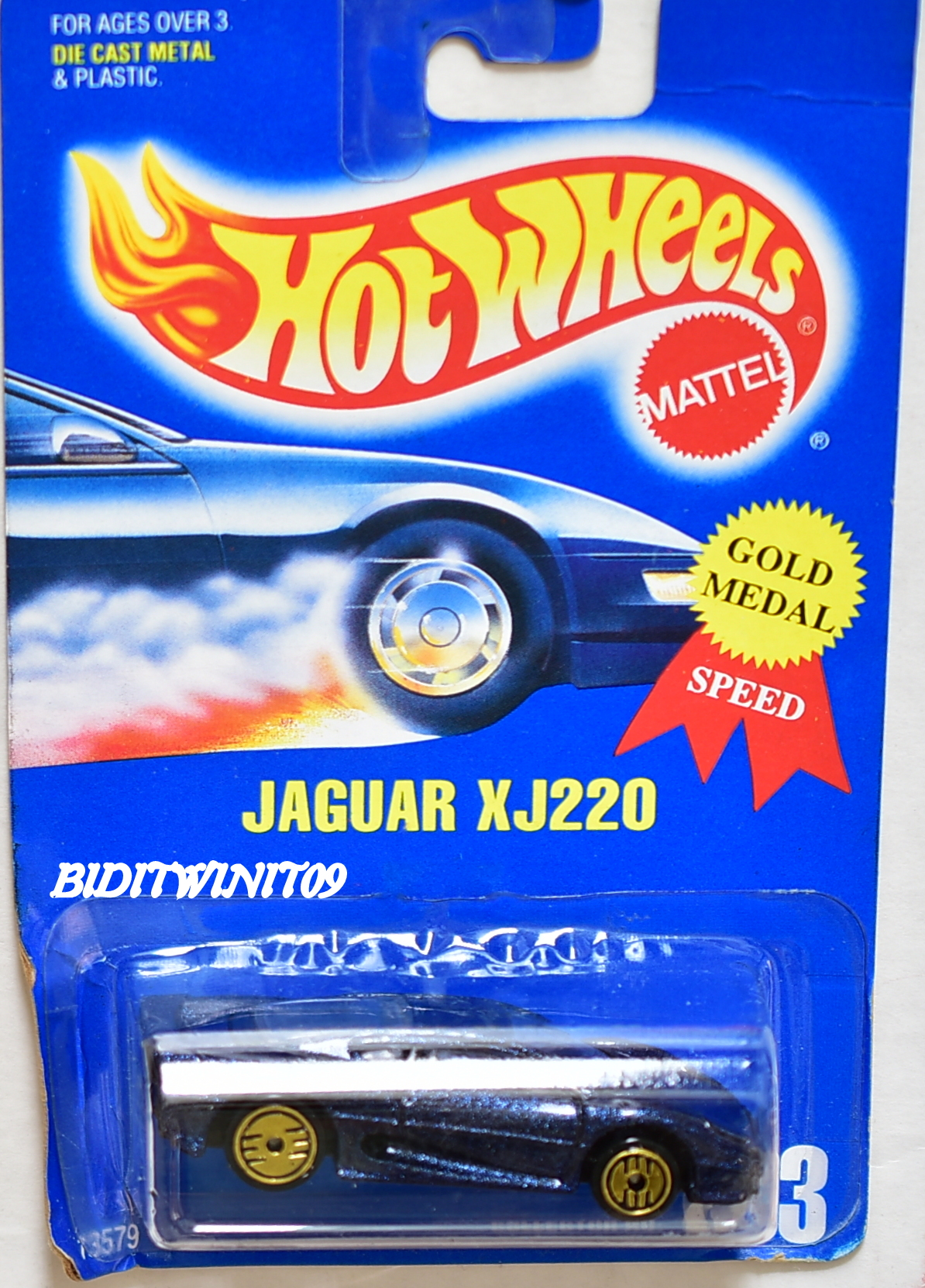 HOT WHEELS 1991 JAGUAR XJ220 #203 BLUE CARD W/ GOLD UH WHEELS