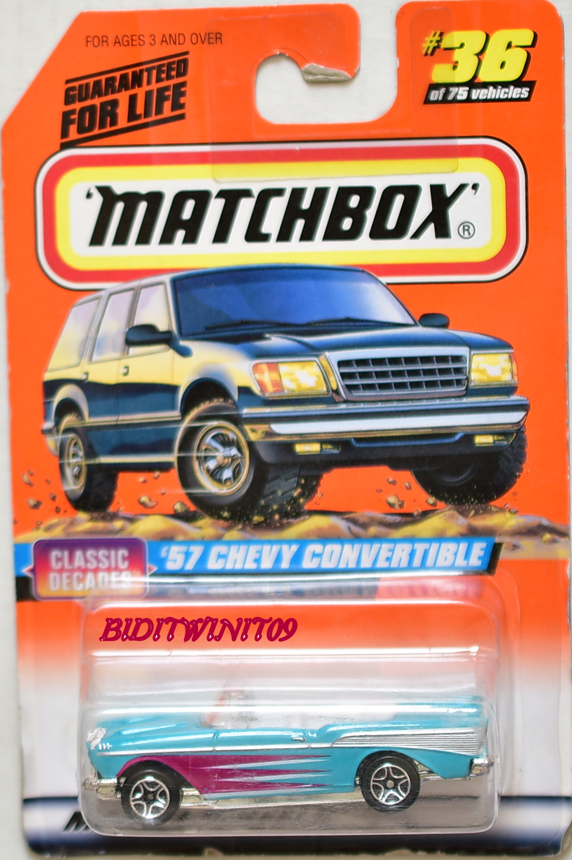 MATCHBOX 1998 #36 OF 75 '57 CHEVY CONVERTIBLE - CLASSIC DECADES