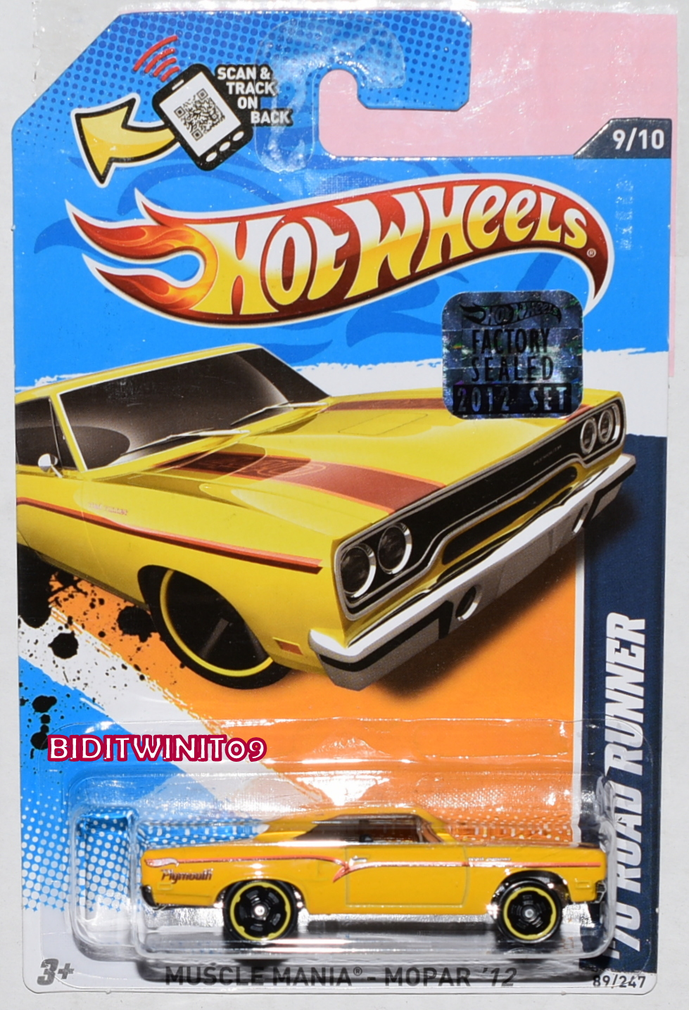 HOT WHEELS 2012 MUSCLE MANIA '70 ROAD RUNNER YELLOW FACTORY SEALED