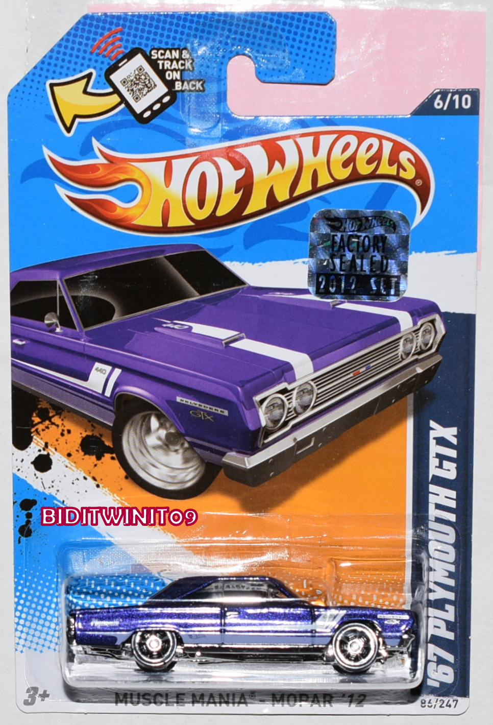 HOT WHEELS 2012 MUSCLE MANIA '67 PLYMOUTH GTX PURPLE FACTORY SEALED
