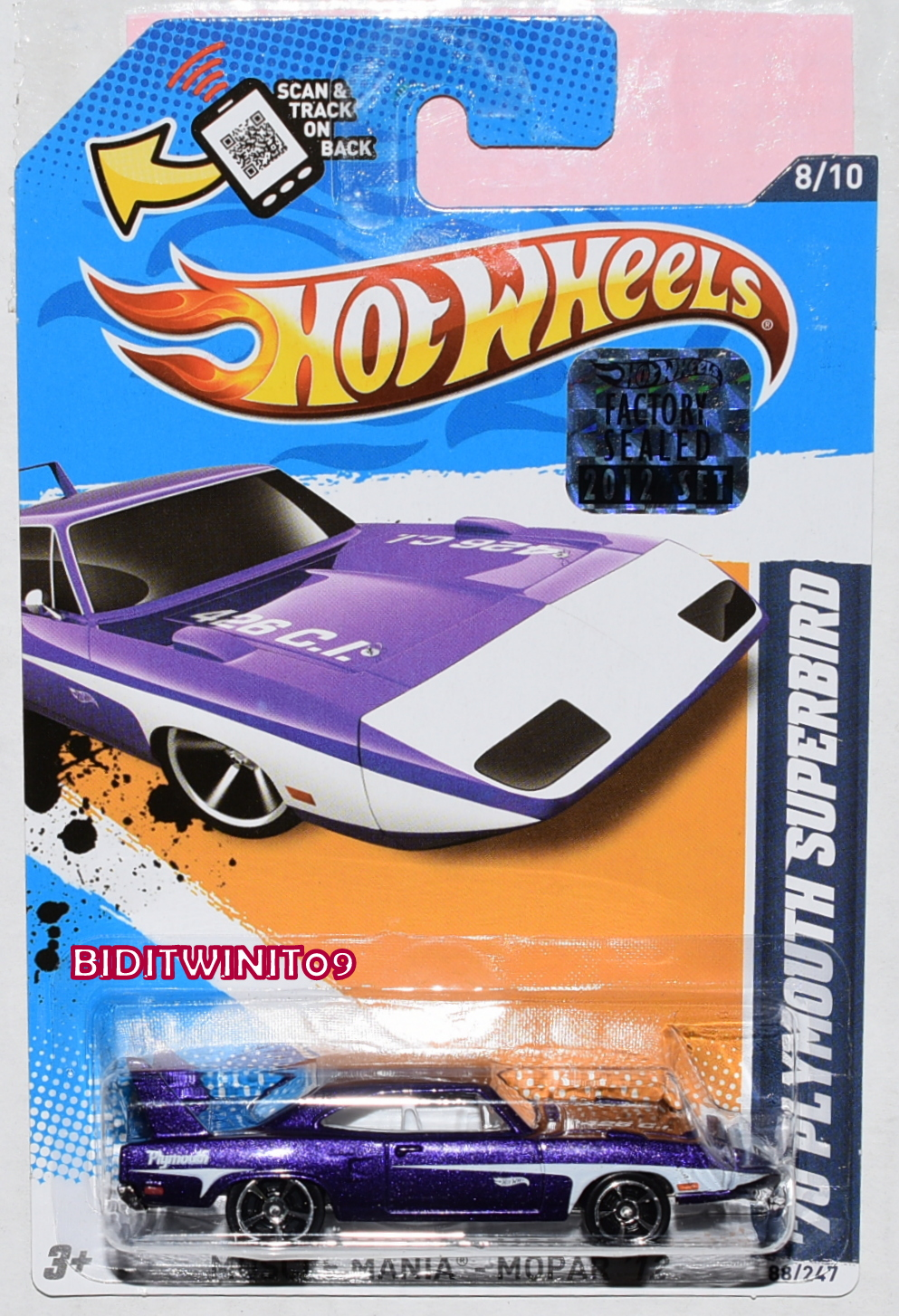 HOT WHEELS 2012 MUSCLE MANIA '70 PLYMOUTH SUPERBIRD PURPLE FACTORY SEALED
