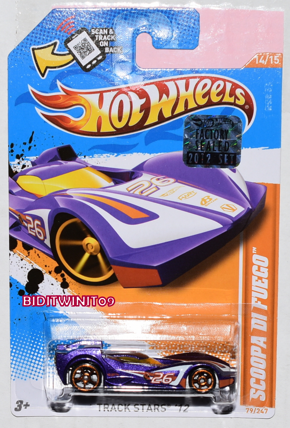 HOT WHEELS 2012 TRACK STARS SCOOPA DI FUEGO PURPLE FACTORY SEALED