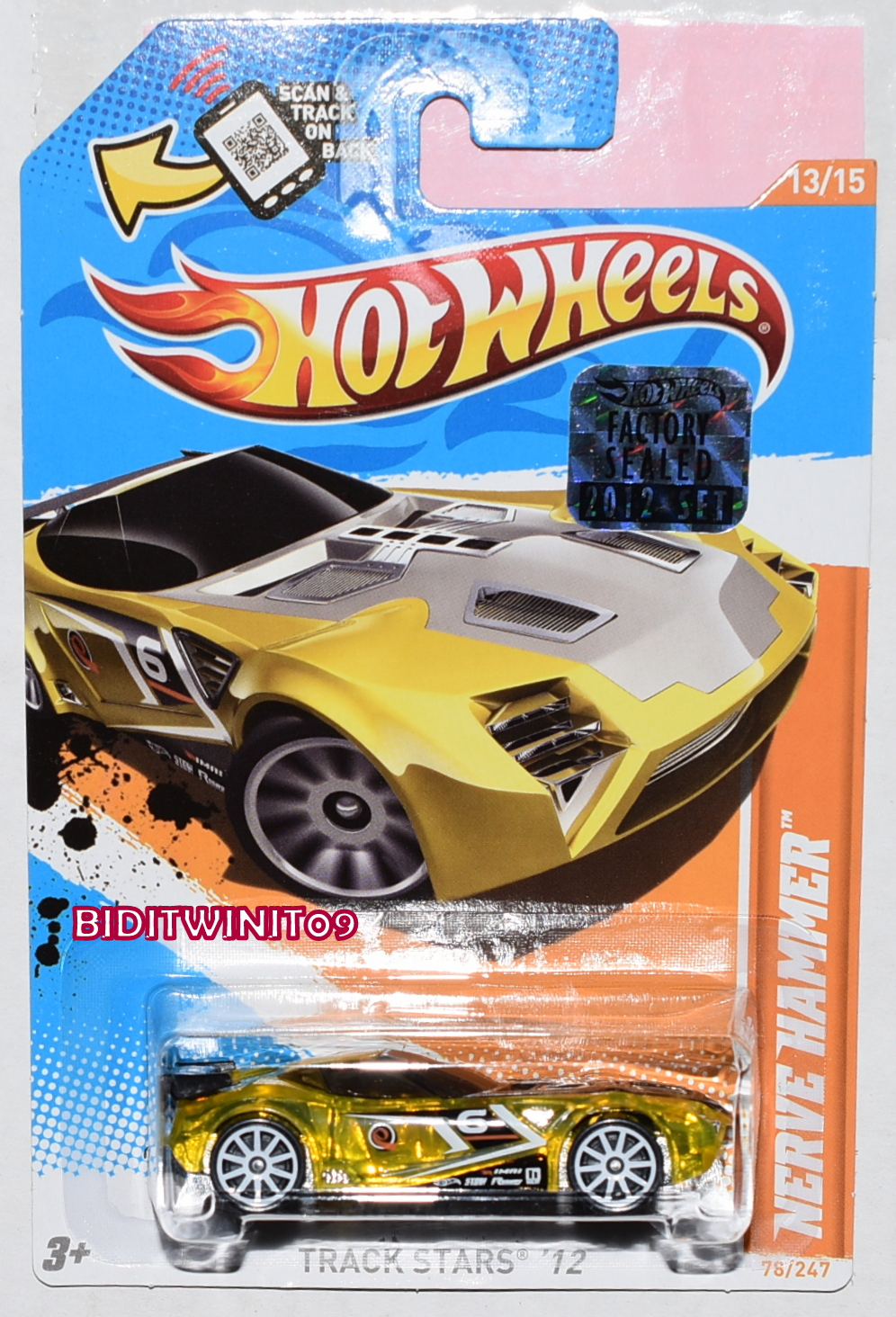 HOT WHEELS 2012 TRACK STARS NERVE HAMMER GOLD FACTORY SEALED