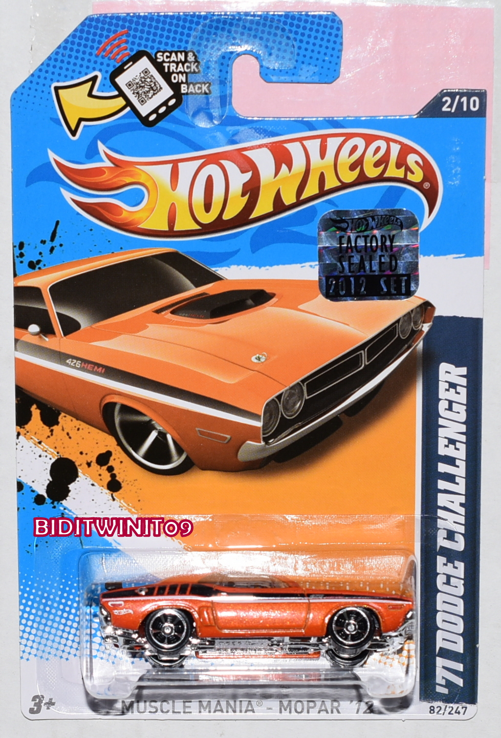 HOT WHEELS 2012 MUSCLE MANIA '71 DODGE CHALLENGER ORANGE FACTORY SEALED