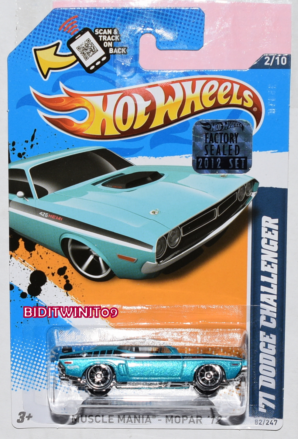 HOT WHEELS 2012 MUSCLE MANIA '71 DODGE CHALLENGER TURQUOISE FACTORY SEALED