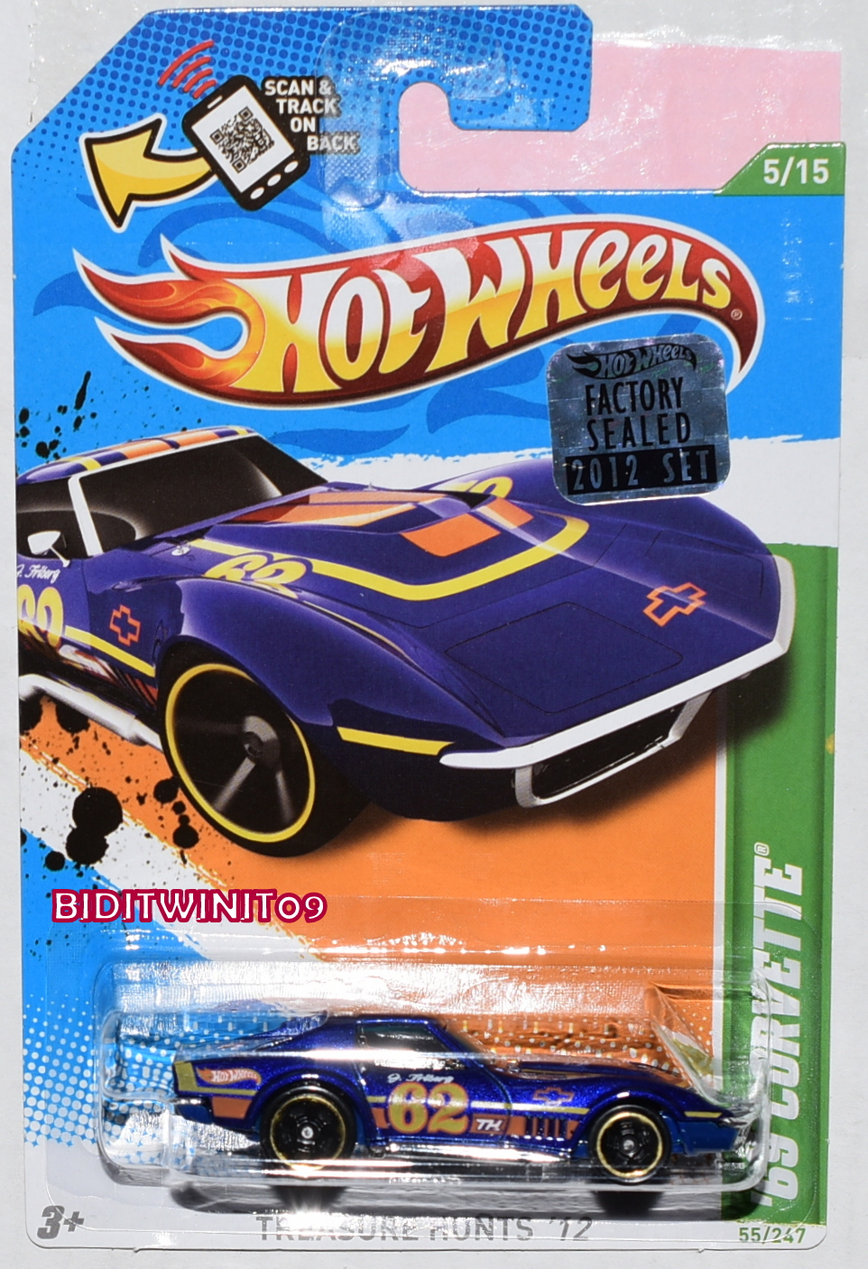 HOT WHEELS 2012 REGULAR TREASURE HUNT '69 CORVETTE FACTORY SEALED