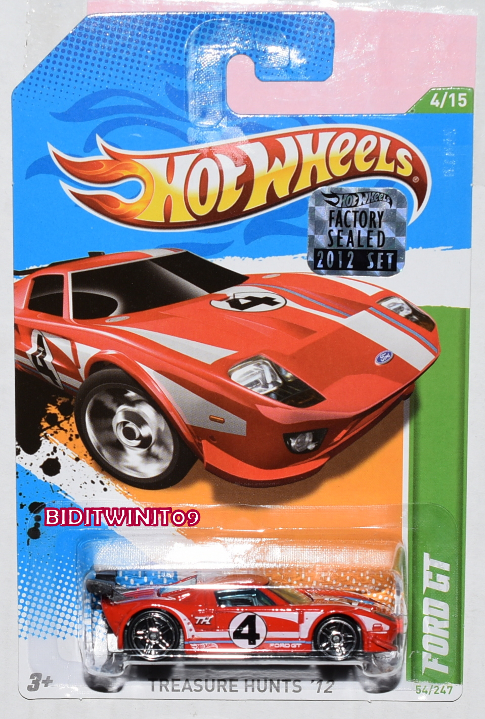 HOT WHEELS 2012 REGULAR TREASURE HUNT FORD GT RED FACTORY SEALED