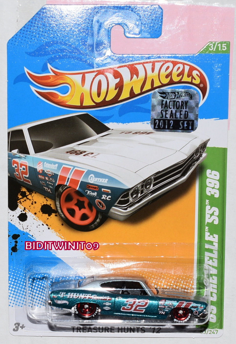 HOT WHEELS 2012 REGULAR TREASURE HUNT '69 CHEVELLE SS 396 FACTORY SEALED
