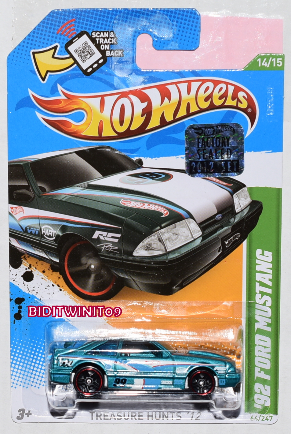 HOT WHEELS 2012 REGULAR TREASURE HUNT '92 FORD MUSTANG FACTORY SEALED