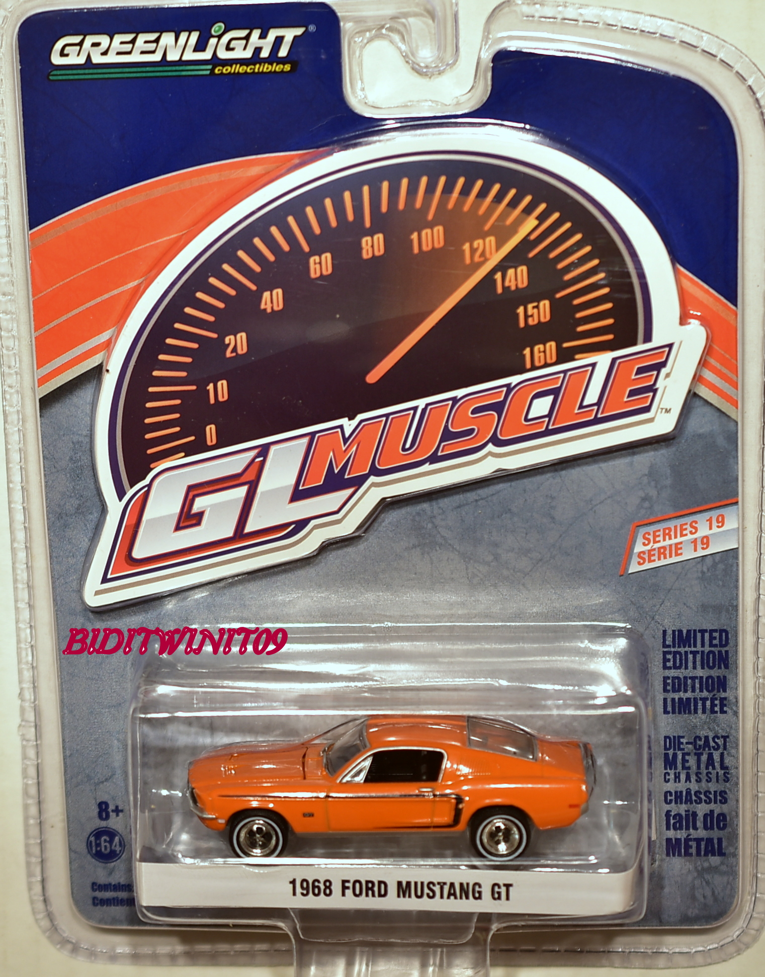 GREENLIGHT 2017 GLMUSCLE SERIES 19 1968 FORD MUSTANG GT ORANGE