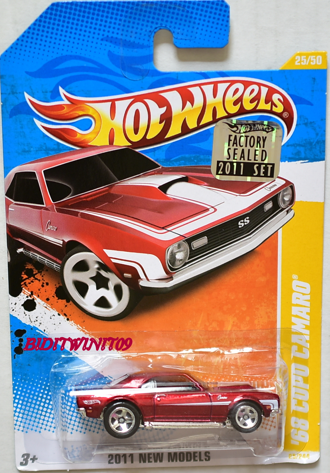 HOT WHEELS 2011 NEW MODELS '68 COPO CAMARO #25/50 RED FACTORY SEALED