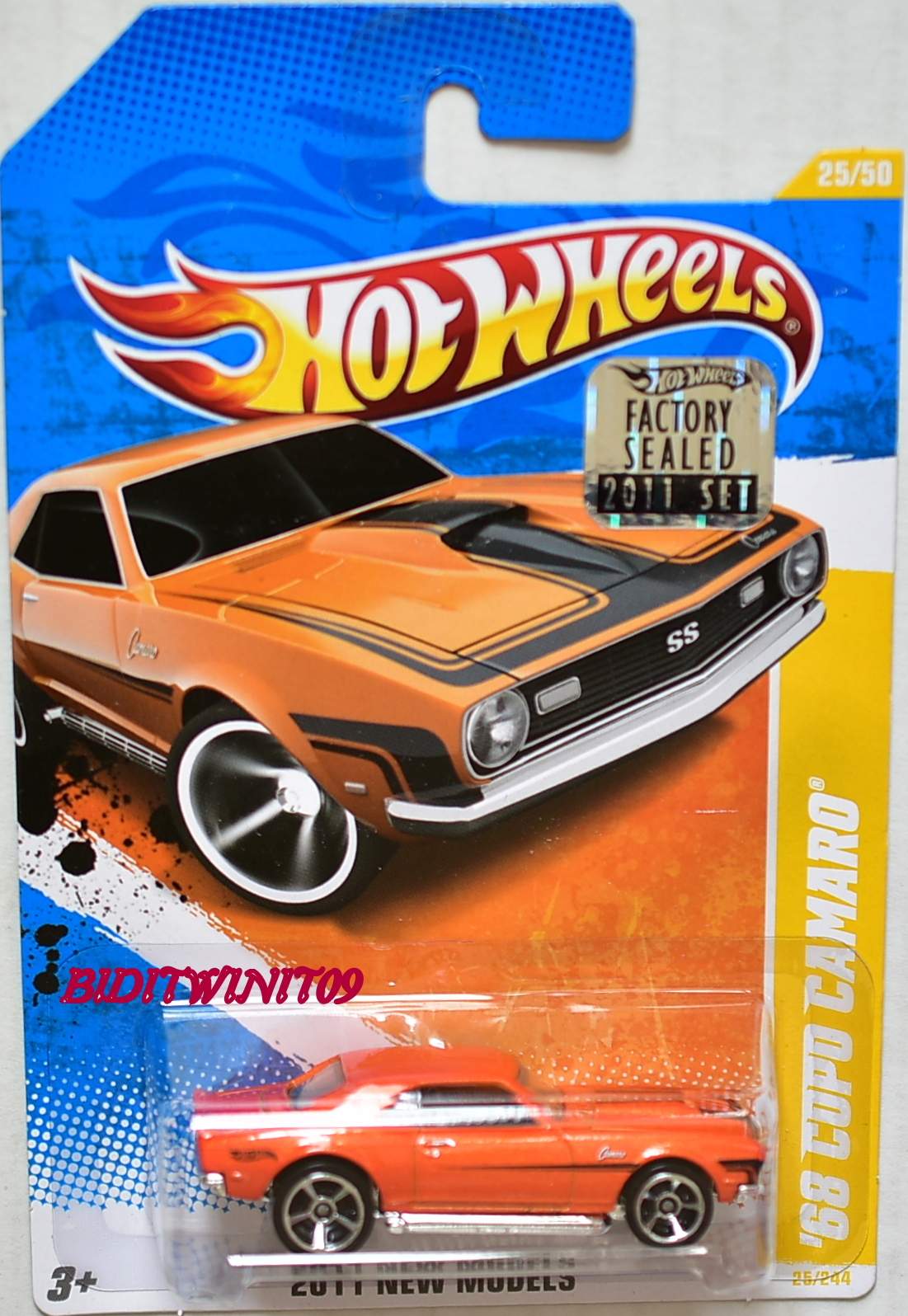 HOT WHEELS 2011 NEW MODELS '68 COPO CAMARO #25/50 ORANGE FACTORY SEALED E+