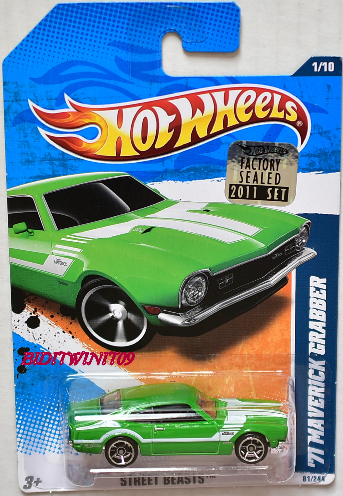 HOT WHEELS 2011 STREET BEASTS '71 MAVERICK CRABBER GREEN FACTORY SEALED